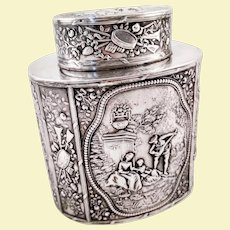 Beautiful Hanau 800 silver tea caddy by JD Schleissner & Sohne