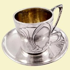 Art Deco German 800 silver cup with saucer