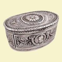 Hanau 800 silver box with medallions by George Roth