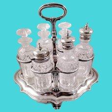 Large six-piece sterling cruet stand c. 1837