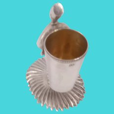 Silver 800 toothpick holder in the form of a man