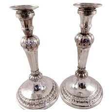 RARE pair of Belgian solid silver candlesticks c. 1790
