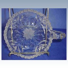Vintage Press Glass Nappy with Fancy Cuts and Etchings