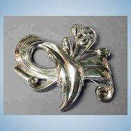 LARGE Sterling Flower Impressed Brooch Marked SB