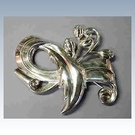 LARGE Sterling Flower Impressed Brooch Marked SB