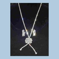 Long Rhinestone Chain with Medallion and Earrings