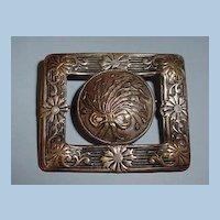 VINTAGE  Art Nouveau Flowing Flowers Sash Ornament Brooch Pin