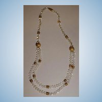VINTAGE Brass and Crystal 15 inch Choker or Necklace Unusual and Stunning!