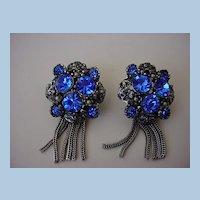VINTAGE Glorious Blue Fringe Earrings Unsigned