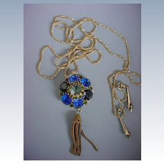 FANCY FRINGE Medallion With  Gold Tone Lariat with Weights