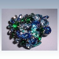 VINTAGE UNUSUAL Cluster of Blues and Green Flowers Brooch Very Unusual Structure!