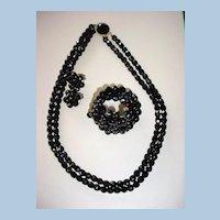 VINTAGE Black Glass Faceted Parure Necklace Bracelet and Earrings