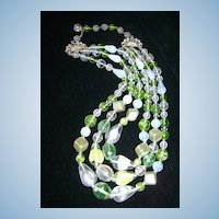 VINTAGE Opalescence and Mint Green with Square Pearls Three Strand Granny Necklace