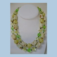 SPRING FLING!  50's Double Strand Glass and Plastic Lemon-Lime Necklace