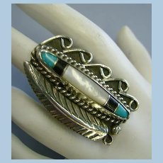 VINTAGE LARGE Mother of Pearl, Onyx, and Turquoise Ring