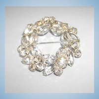 VINTAGE Crystal Circle Brooch, Shiny and Classic