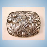 VINTAGE Coro  Sterling-Craft Daisy Flowers and Leaves Brooch