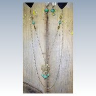 VINTAGE Long Chain Necklace with Jade-like Glass Beads with Earrings