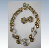 Classic Double string of Granny Beads and Earrings  Golden Color and Crystals