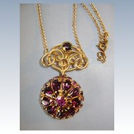 VINTAGE Watch Holder and Jeweled Purple Necklace  and 24 inch Chain