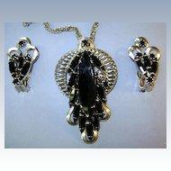 VINTAGE Black Navette Pendant and Clip Earrings