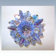 VINTAGE Beautiful Blue Crystal Brooch with Margarita Center Drinker's Choice