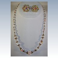 VINTAGE Crystal Beads and Brass Beads Necklace and Earrings