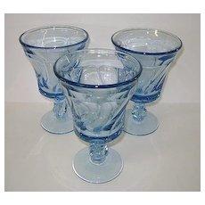 VINTAGE Two Fostoria Jamestown Blue Water Goblets Perfect