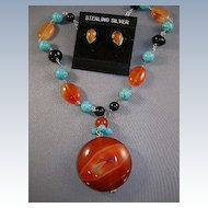 Necklace and Earrings Carnelian -Turquoise and Onyx Beads Old Stock.