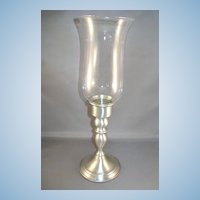 Two Web Pewter Candle-sticks with Glass Shades