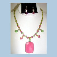 Sterling and Swarovski Crystal with Rose Quartz Pendant Necklace and Earrings