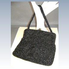 VINTAGE Simple Black Beaded Bag Josef Made in Belgium