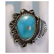 VINTAGE Indian Made Turquoise Ring  with Large Leaf   Size 7 3/4