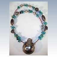 Tribal Turquoise Necklace Beads and Small Bottle