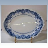 VINTAGE Johnson Brothers Large Meat Platter  Wild Rose Blue