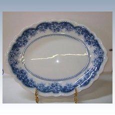 VINTAGE Johnson Brothers Large Meat Platter  Wild Rose Blue