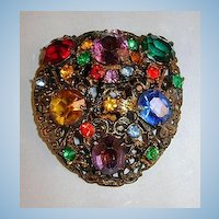 VINTAGE Multicolor Rhinestone Dress Clip Beautiful Colors!