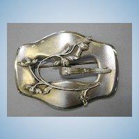 VINTAGE Silver-Tone Sash Buckle Brooch OLD