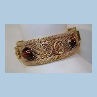VINTAGE  Mesh Bracelet with Four Cat's Eye Cabochons