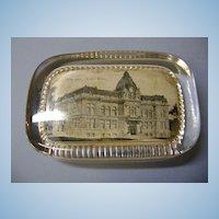 VINTAGE Flint ,Michigan  City Hall Glass Paper Weight