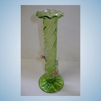 VINTAGE  Hand-blown Art Glass Vase  Green Green