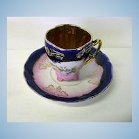 VINTAGE German Demi Tasse Royal Blue and Pink Cup and Saucer