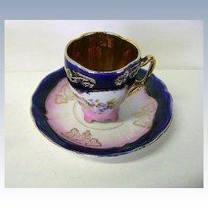 VINTAGE German Demi Tasse Royal Blue and Pink Cup and Saucer