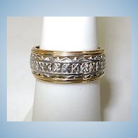 VINTAGE 14k White and Yellow Gold Pierce Ring Band Size 6 3/4