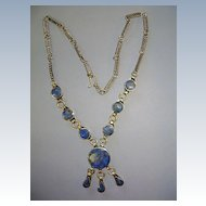 VINTAGE Silver-Mix Lapis Necklace   Tribal  Ethnic