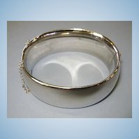 VINTAGE Whiting and Davis Bangle Bracelet Large Silver-tone
