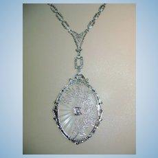 VINTAGE 14K White Gold Filigree Camphor Glass and Diamond Pendant