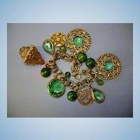 VINTAGE 50'S Charming Green Tones Charm Bracelet No Signature