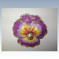VINTAGE Signed Coro Enameled Pansy Beautiful and Old