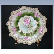 VINTAGE Porcelain Bowl Roses and Gold Trim R.S. Prussia